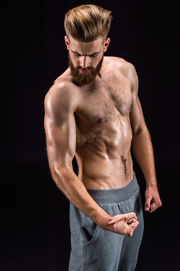 Без рубашки бородатый представлять культуриста изолированный на черноте стоковое изображение rf