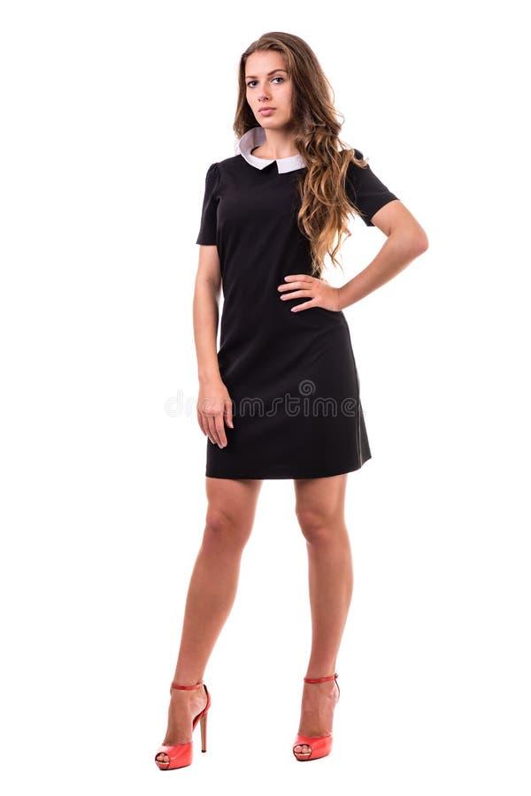 Без сокращений портрет молодой бизнес-леди, изолированный на белизне стоковое фото rf