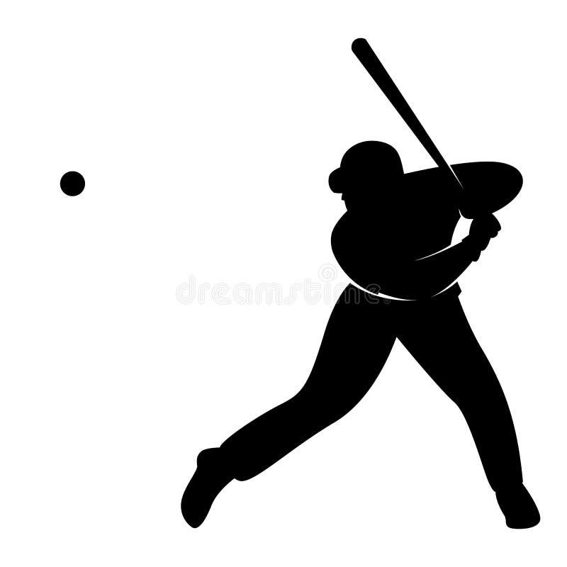 Бейсболист, иллюстрация вектора, черный силуэт иллюстрация штока