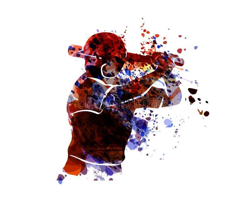 Бейсболист силуэта акварели бесплатная иллюстрация