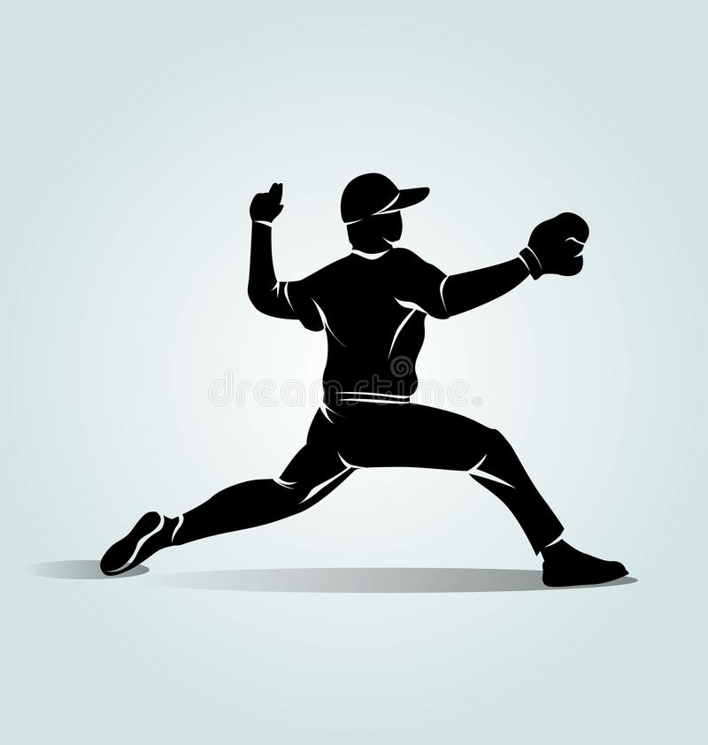 Бейсболист силуэта вектора иллюстрация штока
