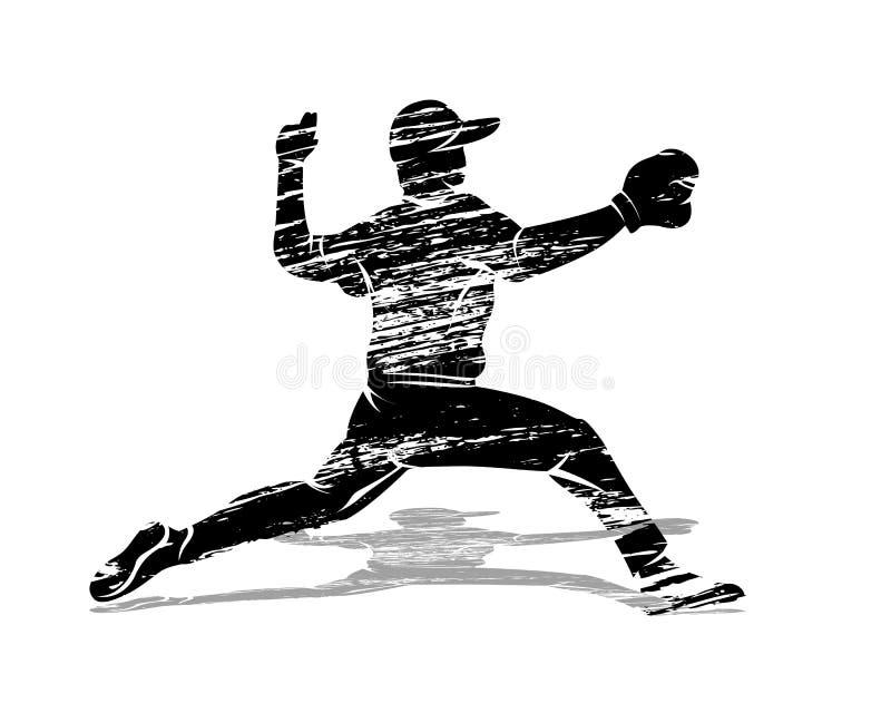 Бейсболист силуэта grunge вектора бесплатная иллюстрация