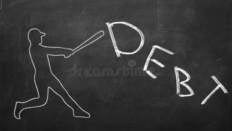 Бейсболист ударяя задолженность слова стоковое фото rf