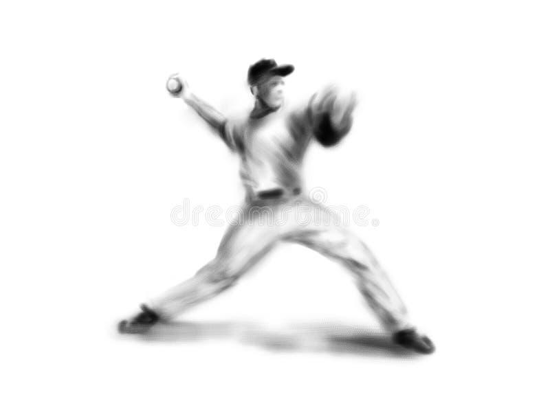 Бейсболист чертежа руки Иллюстрация цифров иллюстрация штока