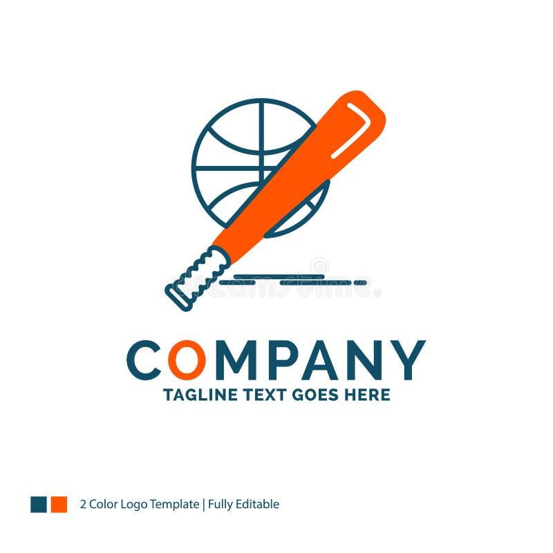 бейсбол, корзина, шарик, игра, дизайн логотипа потехи Голубой и оранжевый b иллюстрация вектора