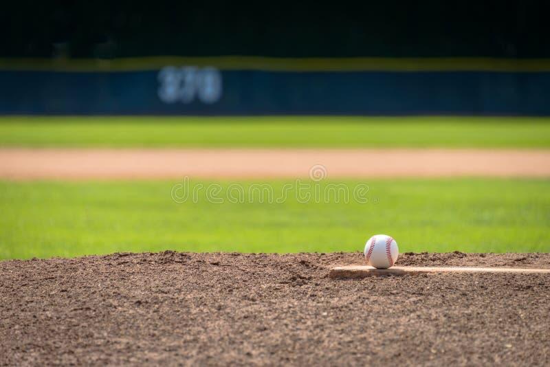 Бейсбол на насыпи кувшина - телеобъективе стоковое фото rf