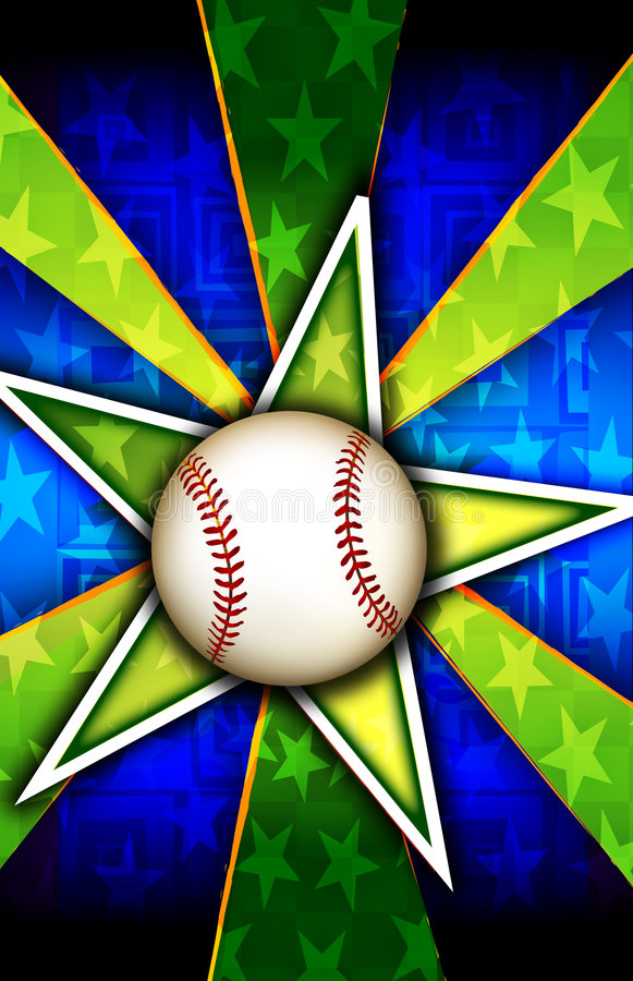 бейсбол разрывал зеленую звезду иллюстрация вектора
