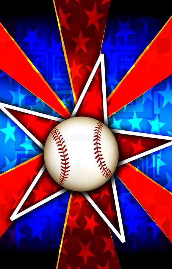 бейсбол разрывал красную звезду иллюстрация штока