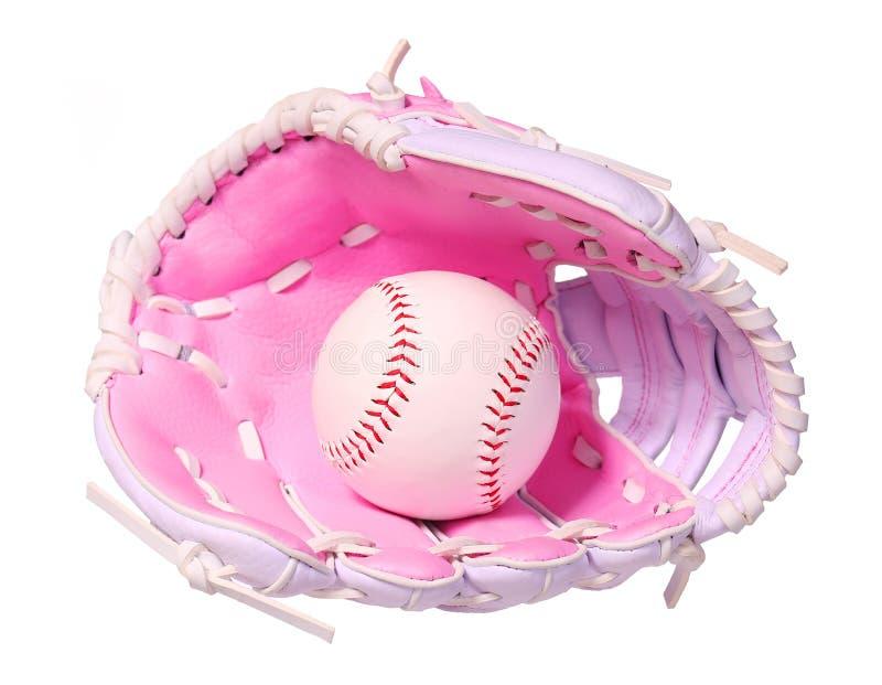 Бейсбол в розовой женской изолированной перчатке стоковые изображения rf