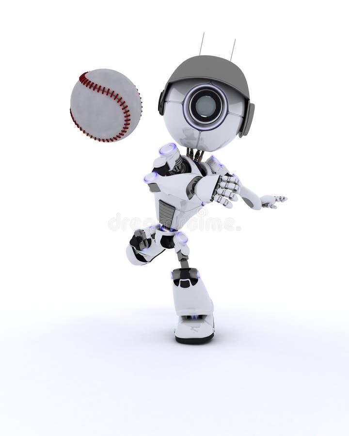 бейсбол играя робот бесплатная иллюстрация