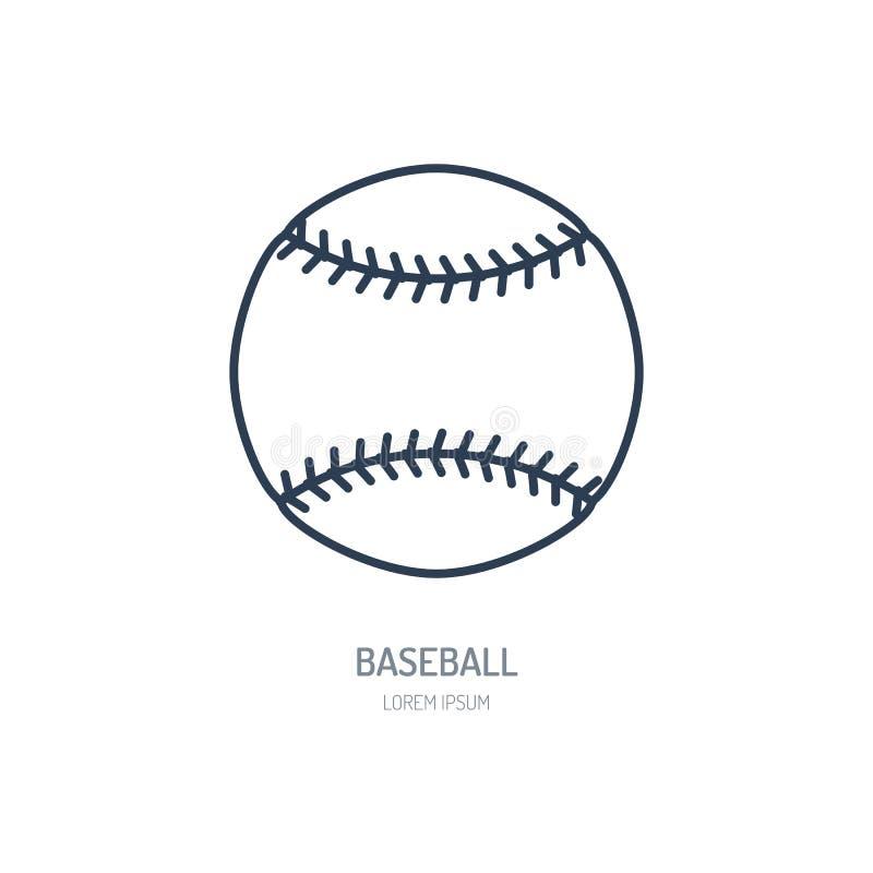 Бейсбол, линия значок вектора софтбола Логотип шарика, знак оборудования Иллюстрация конкуренции спорта бесплатная иллюстрация