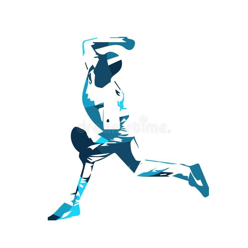 Бейсболист, голубая иллюстрация вектора иллюстрация вектора
