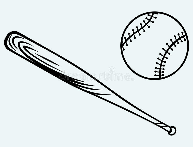 Бейсбол и бейсбольная бита иллюстрация вектора