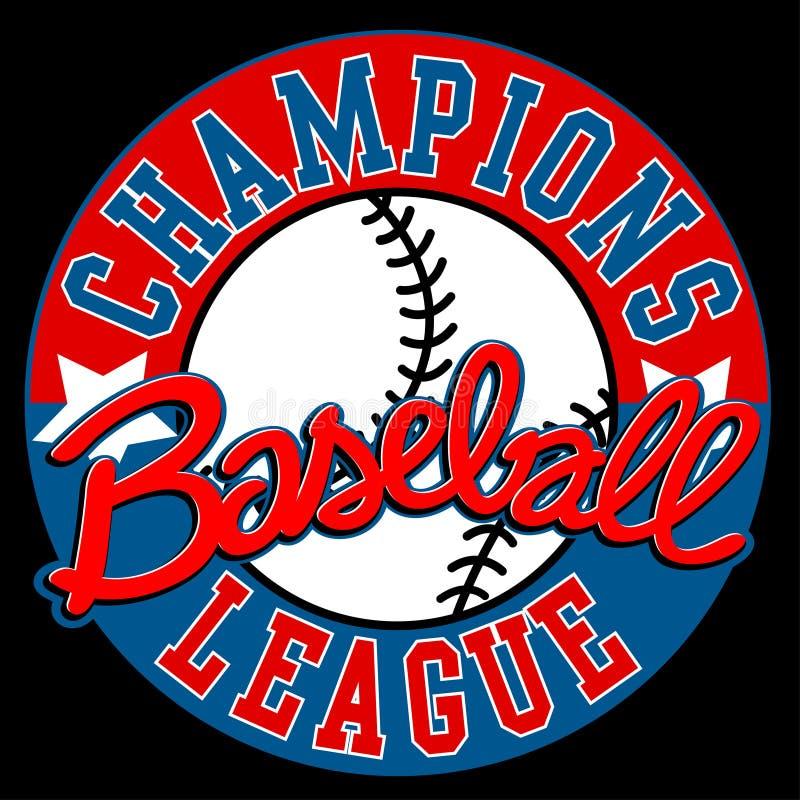 Бейсбол Champions знак лиги с шариком иллюстрация вектора