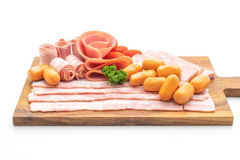 бекон, сосиска, копченая ветчина и бекон барбекю стоковые фотографии rf