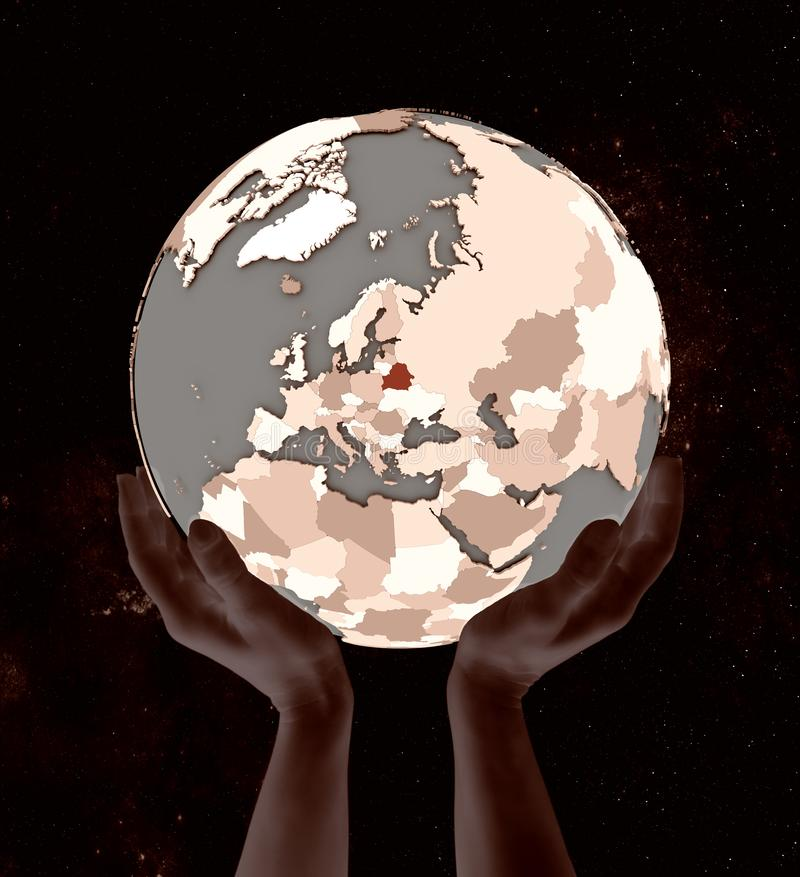 Беларусь на глобусе в руках иллюстрация штока