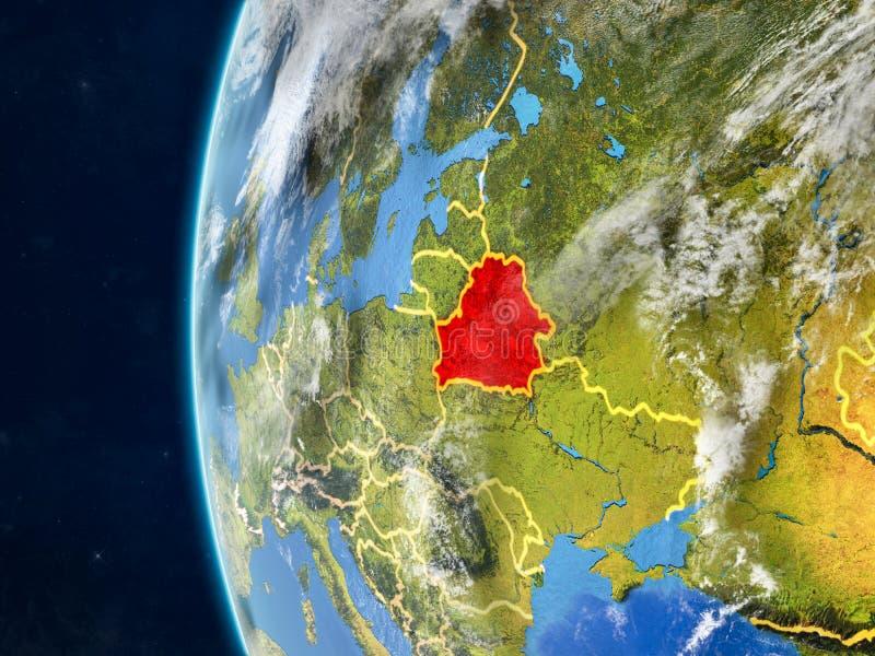 Беларусь на глобусе от космоса иллюстрация штока
