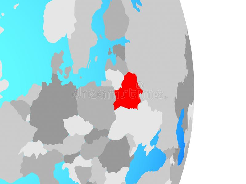 Беларусь на глобусе иллюстрация вектора