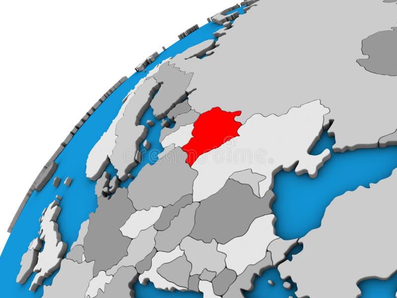 Беларусь на глобусе 3D иллюстрация вектора
