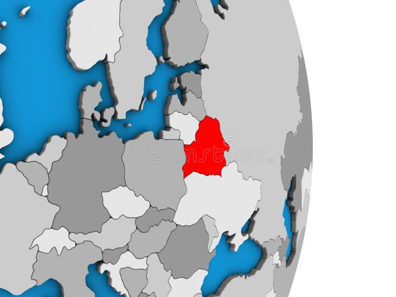 Беларусь на глобусе 3D иллюстрация штока
