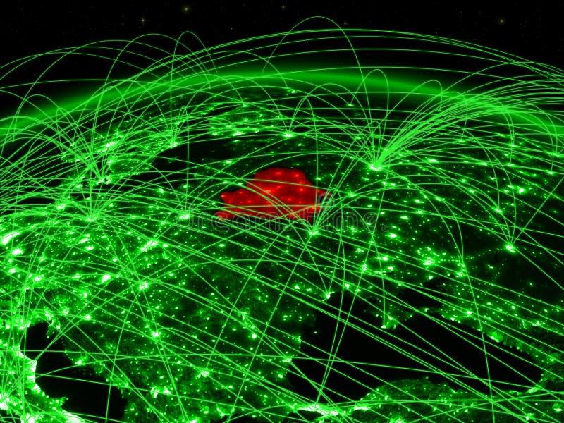 Беларусь на зеленом глобусе иллюстрация вектора