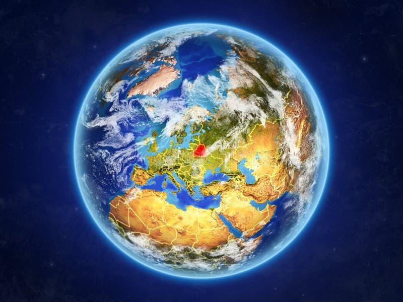 Беларусь на земле от космоса иллюстрация штока
