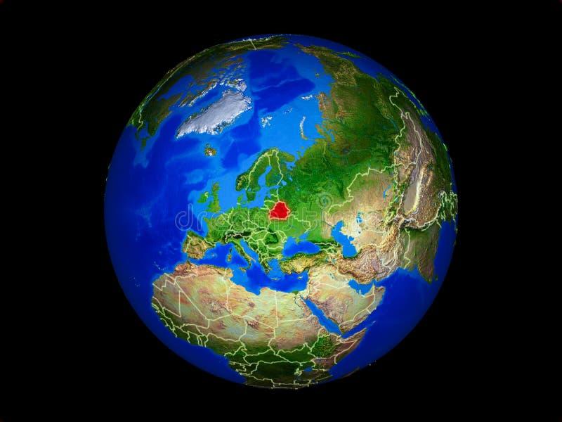 Беларусь на земле от космоса иллюстрация вектора