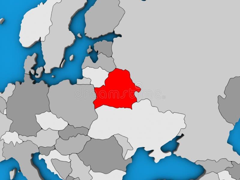 Беларусь на карте 3D иллюстрация штока