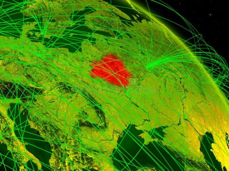 Беларусь на цифровом глобусе иллюстрация штока