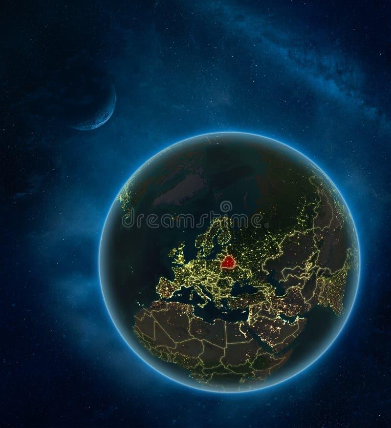 Беларусь от космоса на ноче иллюстрация вектора