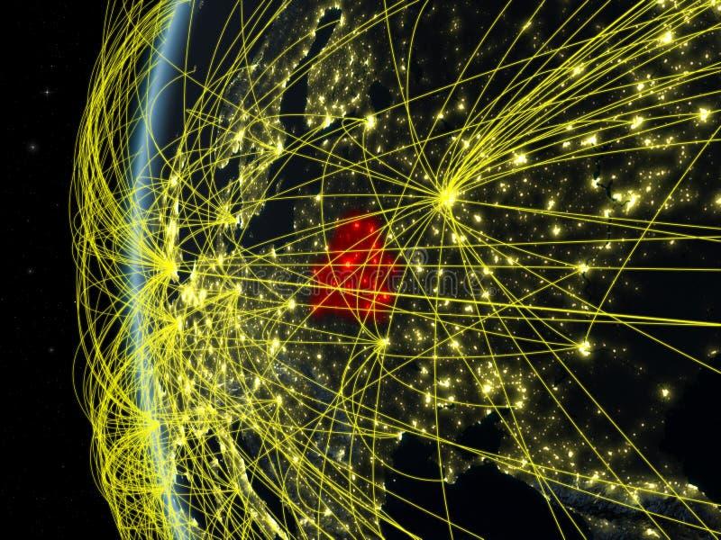 Беларусь от космоса с сетью иллюстрация вектора