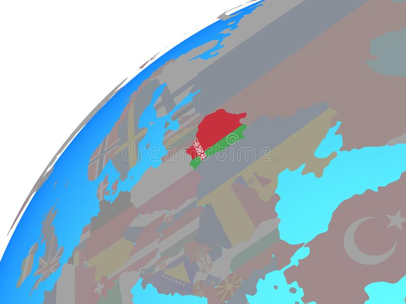 Беларусь с флагом на глобусе иллюстрация штока