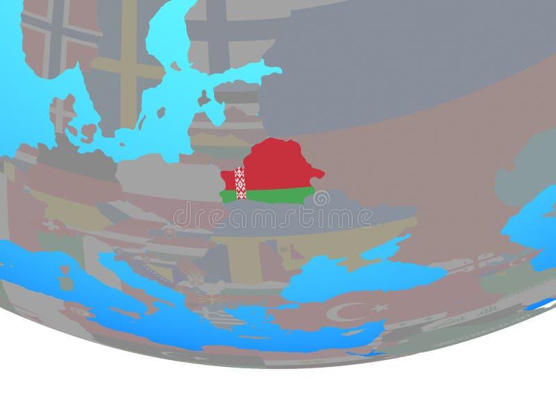 Беларусь с флагом на глобусе иллюстрация вектора