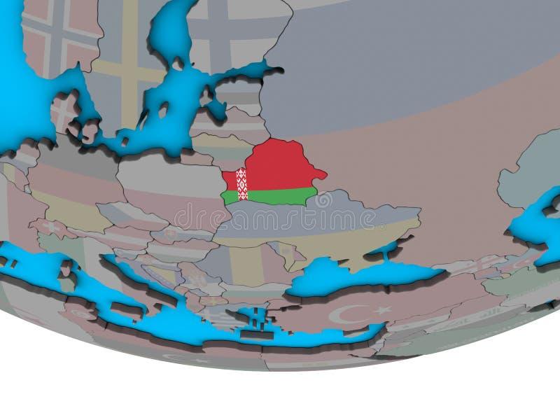 Беларусь с флагом на глобусе бесплатная иллюстрация