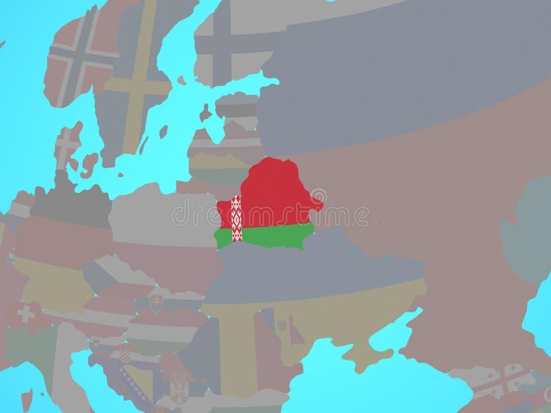 Беларусь с флагом на карте бесплатная иллюстрация