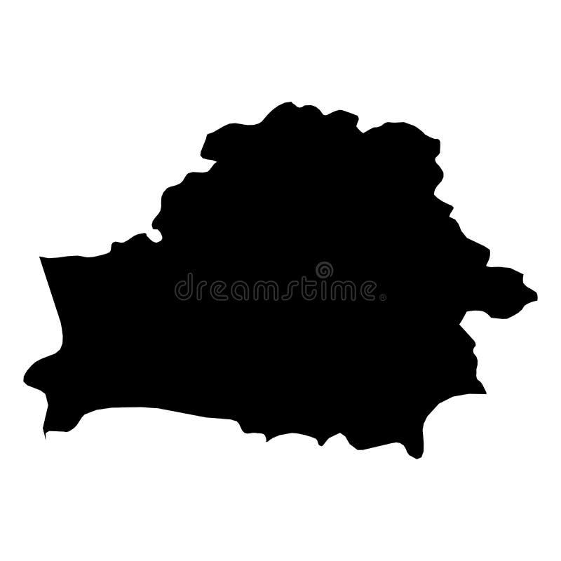 Беларусь - твердая черная карта силуэта района страны Простая плоская иллюстрация вектора иллюстрация штока