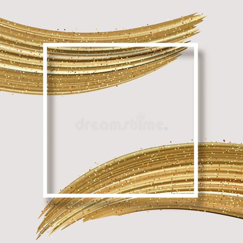 Белая абстрактная карта с квадратным brushstroke рамки и золота сияющим бесплатная иллюстрация