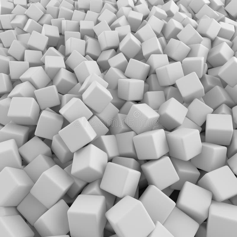 Белая абстрактная куча фона кубов иллюстрация вектора