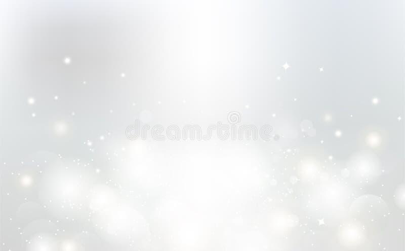 Белая абстрактная предпосылка, иллюстрация вектора искры световых лучей серебряная бесплатная иллюстрация