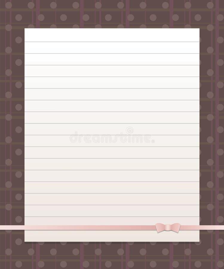 Белая бумага выровняла лист на предпосылке темного коричневого цвета с вертикальными и горизонтальными нашивками и мат--жемчугом  бесплатная иллюстрация