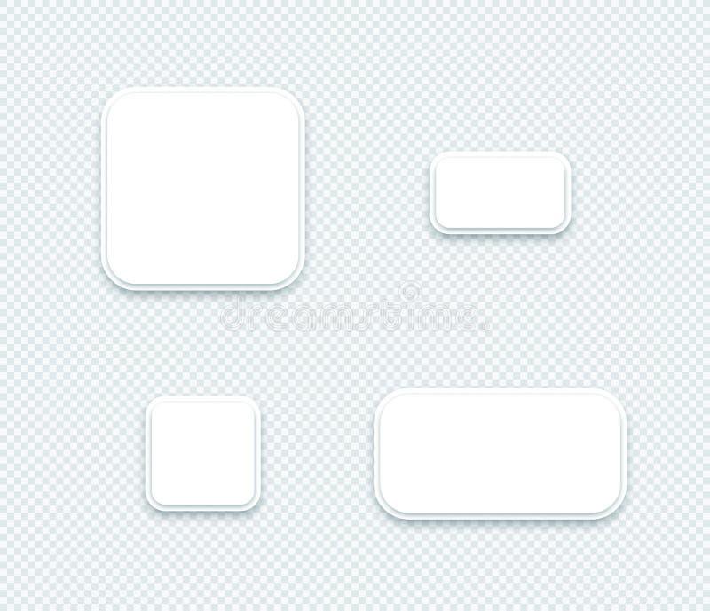 Белая бумага пробела вектора 3d наслоила квадратные установленные формы иллюстрация вектора