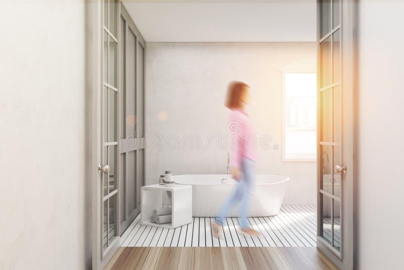 Белая ванная комната, белый ушат, женщина бесплатная иллюстрация