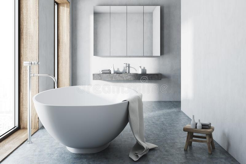 Белая ванная комната, белый ушат, конкретный пол иллюстрация штока