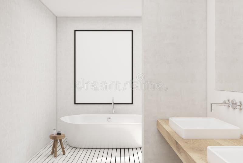 Белая ванная комната, белый ушат, плакат бесплатная иллюстрация