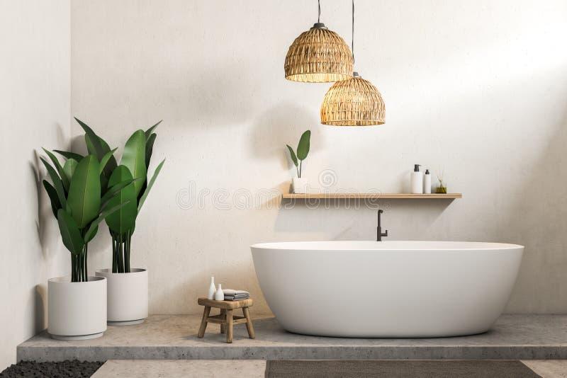 Белая ванная комната, белый ушат иллюстрация вектора