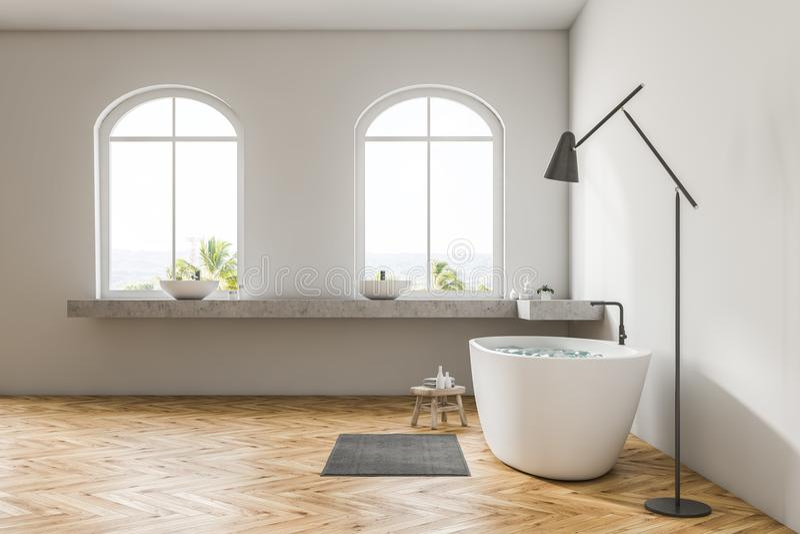 Белая ванная комната внутренняя, белый ушат, взгляд со стороны иллюстрация вектора