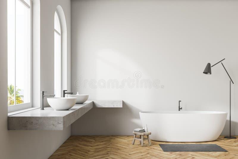 Белая ванная комната внутренняя, белый ушат иллюстрация вектора