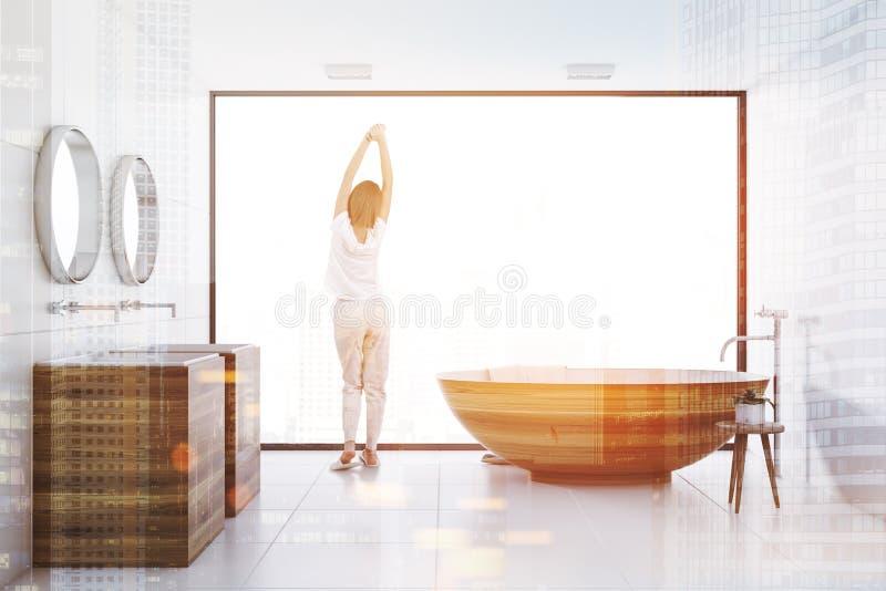 Белая ванная комната внутренняя, деревянный тонизированные ушат и раковина иллюстрация вектора