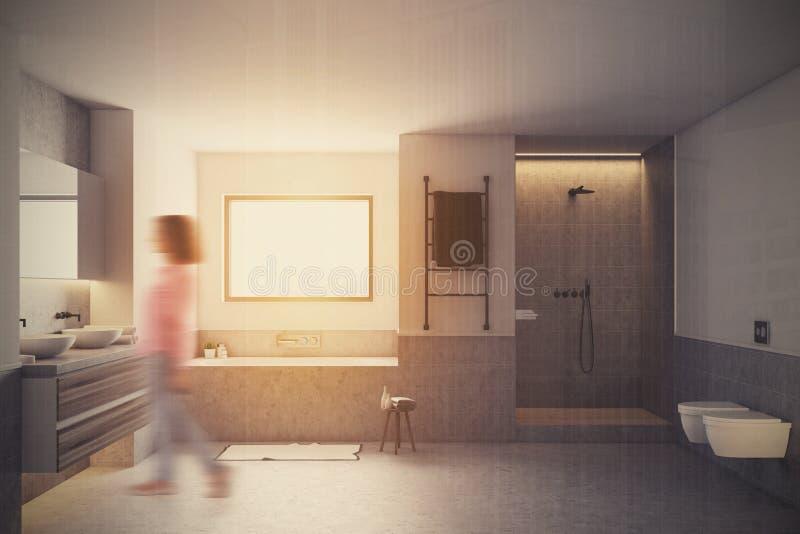 Белая ванная комната внутренняя, серый ушат, нерезкость раковин иллюстрация штока