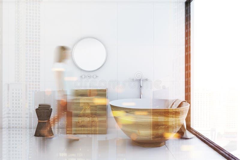 Белая ванная комната, деревянный ушат и раковина, встают на сторону тонизированный иллюстрация вектора